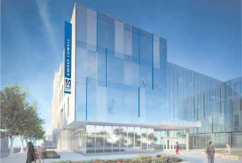 An artist's rendering of the University Crossing project well under construction between Salem and Merrimack streets in Lowell. The facility will house the new Student Services Center and is set to open later this year as a glass-fronted 230,000-square-foot complex with new shops, the admissions department and a new bookstore.