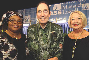 "Leymah Gbowee, left, UMass Lowell's Greeley Scholar for Peace Studies in 2011 and the 2011 Nobel Peace Prize winner; Albie Sachs, this year's UML Greeley Peace Scholar; and Linda Biehl, UML's 2008 Greeley Peace Scholar, addressed high-school and college students Wednesday at a campus forum titled, ""Reflections on Peace-Building."""