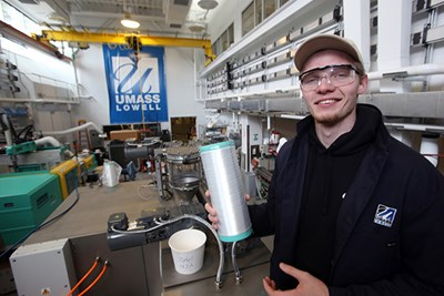 Kevin Hines, 22, of Billerica, a graduating senior in Plastics Engineering at UMass Lowell