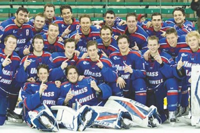 Members of the UMass Lowell hockey team