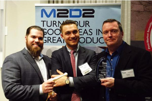 Innoblative won first place this spring in the 5th annual M2D2 $100k Challenge, which recognizes and rewards medical-technology and biotechnology startups. From left are Ryan Bean, Innoblative's product development manger; CEO Tyler Wanke; and Chief Technology Officer Bob Rioux.