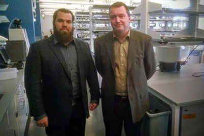 Ryan Bean, left, the Innoblative product development manger, and Bob Rioux, the chief technology officer, in a lab at 110 Canal in Lowell.