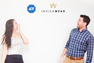 invisWear co-founders CEO Rajia Abdelaziz and CTO Ray Hamilton celebrate their new partnership with security company ADT
