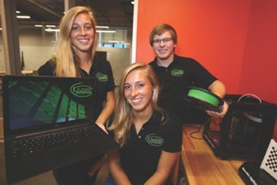UMass Lowell seniors, twins Elizabeth Kender, center, and Laura, and their brother Stephen, a UML sophomore, are developing a flexible, modular body armor for sports protective equipment. Lowell Sun photo by Julie Malakie