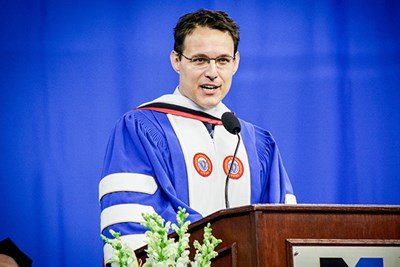 MSNBC host Steve Kornacki delivers the keynote at UMass Lowell's commencement.
