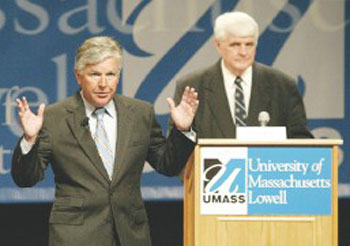 UMass Lowell Chancellor Marty Meehan speaks during an event at the school recently. Meehan will be honored Monday with the Chief Executive Leadership Award.
