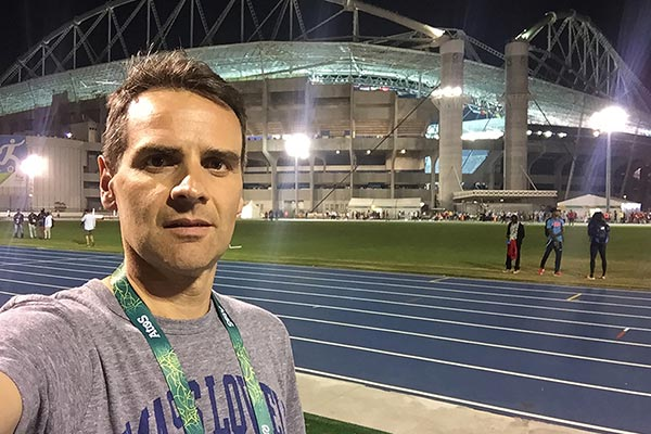 UMass Lowell physical therapy professor Alexandre Lopes in the Olympic Stadium in Rio de Janeiro, Brazil, during the Olympic games. Lopes monitored athletes injuries and health during the 2016 games.