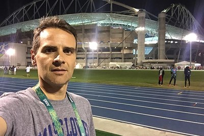UMass Lowell physical therapy professor Alexandre Lopes in the Olympic Stadium in Rio de Janeiro, Brazil, during the Olympic games.