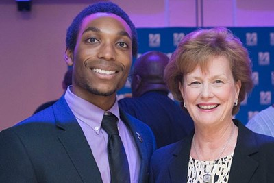 Chancellor Jacquie Moloney with Daniel Howell, president of the UMass Lowell student-run organization Men Achieving Leadership, Excellence and Success