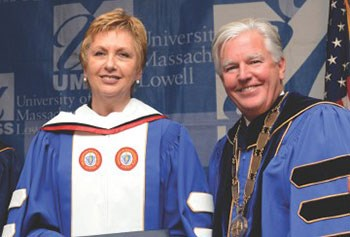 Former Irish President Mary McAleese and UMass Lowell Chancellor Marty Meehan