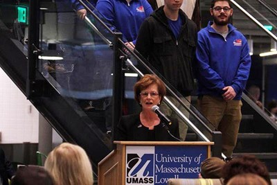 Chancellor Jacqueline Moloney speaks at the opening of the renovated McGauvran Center at UMass Lowell s South Campus Tuesday. SUN/JULIA MALAKIE