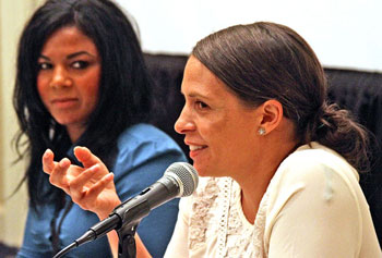 Panelists at Tuesday s Merrimack Valley Sandbox Summit included Janin Duran, left, of Merrimack Valley Sandbox and Lowell restaurant owner Franky Descoteaux, speaking. SUN/DAVID H.BROW
