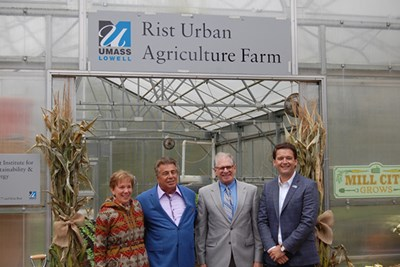 Joanne Yestramski,Brian Rist, John Lebeaux and Ruairi O'Mahony at in front of the Rist Urban Agriculture Farm