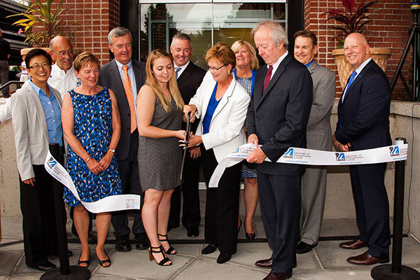 UMass Lowell officially opened the new River Hawk Village residential complex Tuesday with a ceremony including city and university officials.