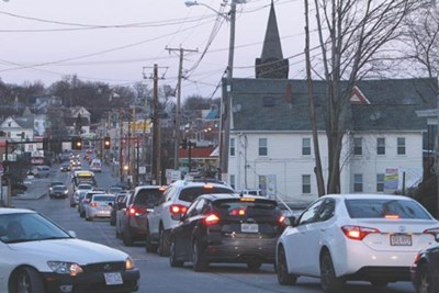 Traffic is backed up on Chelmsford Street in Lowell