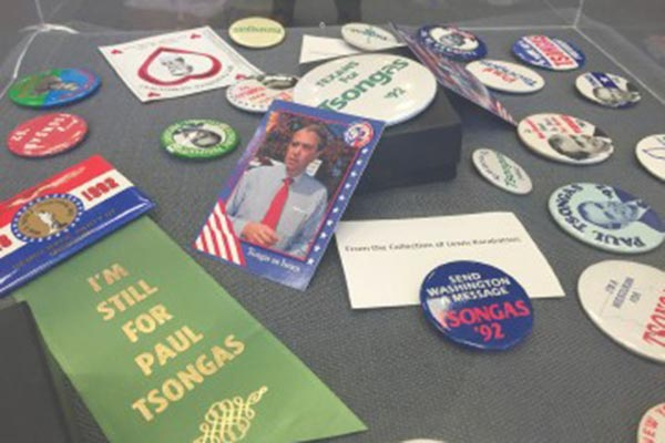 A collection of Paul Tsongas' campaign buttons.