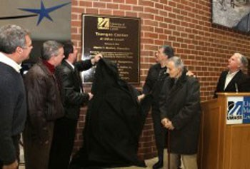 Tsongas plaque dedication/Lowell Sun photo by Julia Malakie