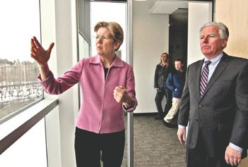Elizabeth Warren and Marty Meehan at ETIC/Sun photo by David Brow