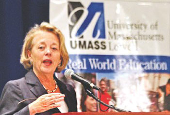 "U.S. Rep. Niki Tsongas speaks at UMass Lowell's Women in Public Service Project Conference on Monday. ""We are, each of us, as we make our way into these positions, coming into places in which few women have served. But if we don't do it, then we will never have change at all,"" Tsongas said."