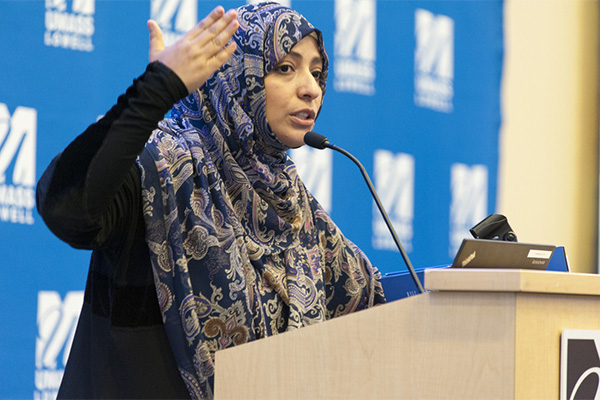Tawakkol Karman told students to fight evil with nonviolence in her Day Without Violence speech.