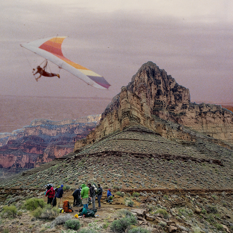 An image of a hang glider in the 70s juxtaposed with a photo of UML students hiking the Grand Canyon today