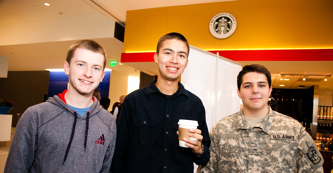 "Students attend the ""Coffee with a Cop"" event at University Crossing."