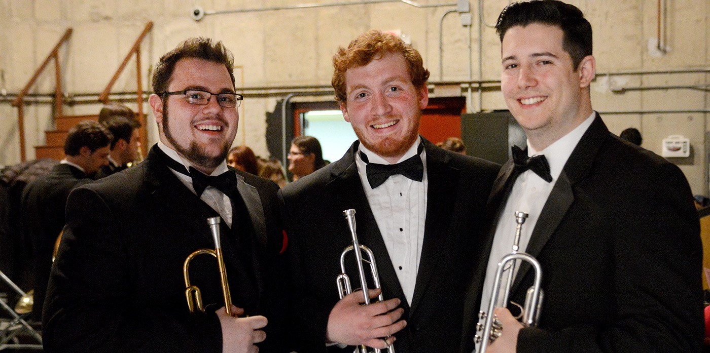 "Three musicians at the University Orchestra's ""All You Need is Love!"" Valentine's Day concert."