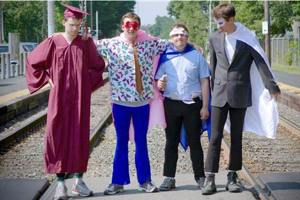 """Asperger's Are Us"" is the first troupe made up of comedians who are on the autism spectrum. From left to right: Jack Hanke, New Michael Ingemi, Ethan Finlan and Noah Britton."