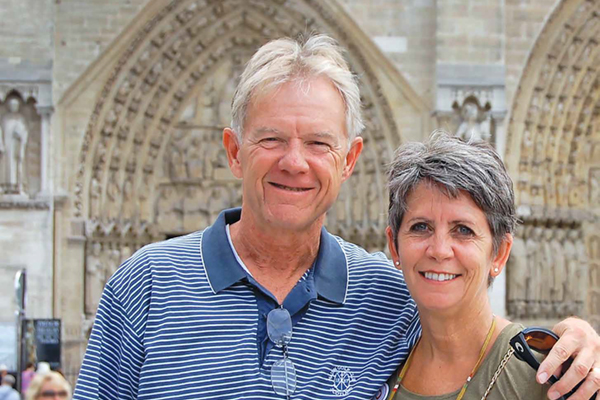 Tom O'Connor '77, '80 and his wife, Diane Lamprey O'Connor '84 pictured on vacation together