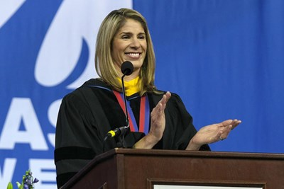 House member Lori Trahan delivers the keynote address at UMass Lowell's commencement