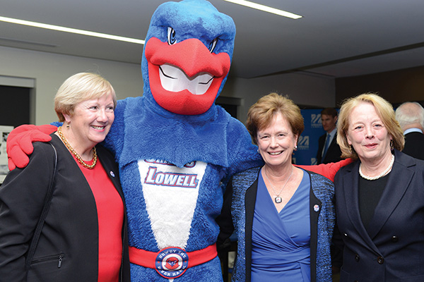 State Sen. Eileen Donoghue, Rowdy the River Hawk, Chancellor Jacquie Moloney and U.S. Rep. Niki Tsongas