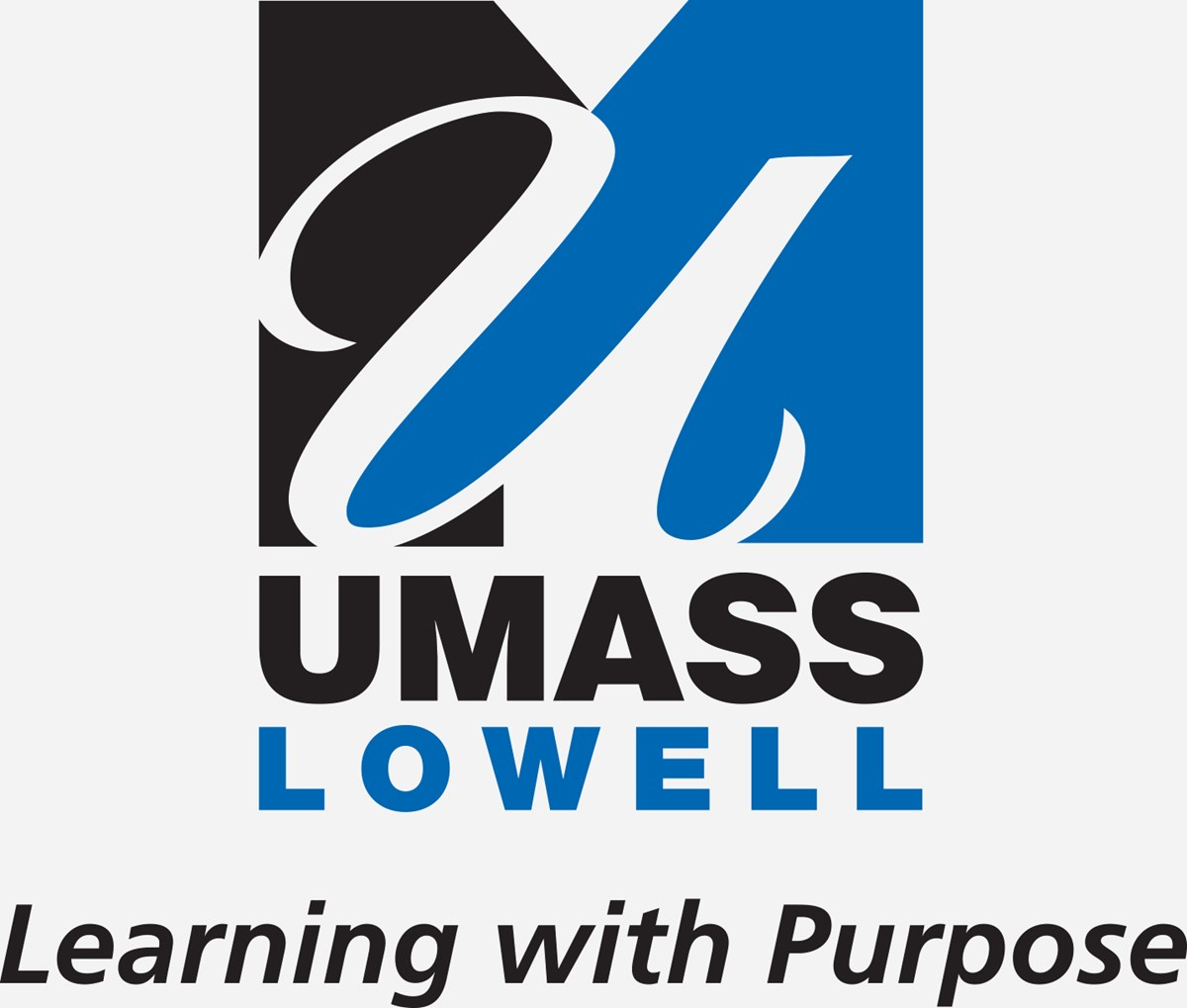 UMass Lowell vertical logo with black tagline