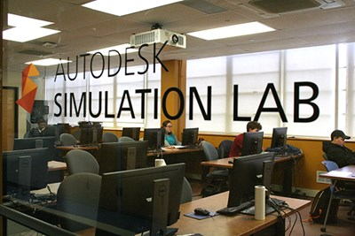 Students work in the Autodesk Simulation Lab