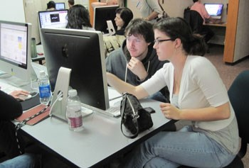 Students work in media center