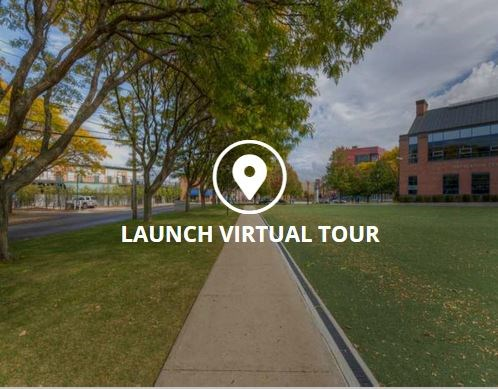 Launch Virtual Tour text over image of campus.
