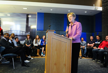 Among U.S. Sen. Elizabeth Warren's stops while on campus was a visit to Fox Common, where students, faculty and staff heard an update from the now senior senator.