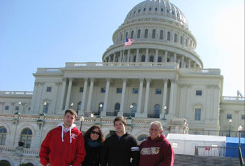 Nicholas Bernardo, third from left, with his brother, Patrick, a UMass Lowell freshman, his mother Cathleen Bernardo and grandfather, David Pelley, on the steps of the U.S. Capitol.
