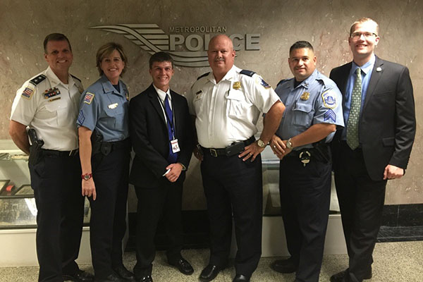 UMass Lowell student Nicholas Imperillo, shown third from left, completed an internship with the District of Columbia's Metropolitan Police Department through the university's partnership with the Washington Center.