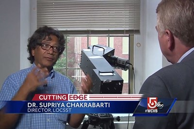 WCVB meteorologist Mike Wankum interviews UMass Lowell researcher Supriya Chakrabarti