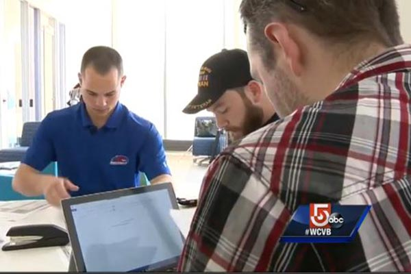 UMass Lowell senior David Tetreault works with other student veterans