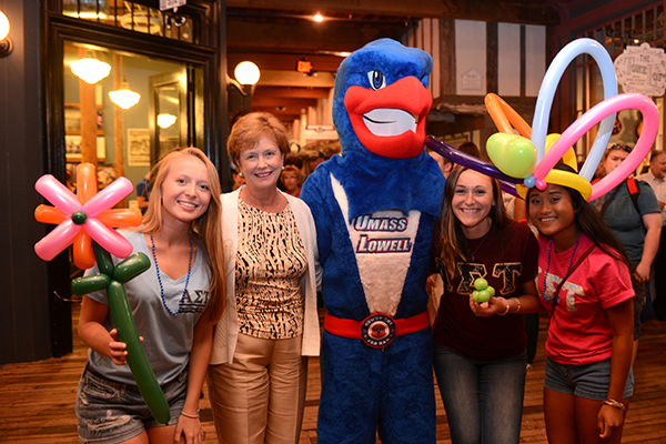 Chancellor Jacquie Moloney hangs with students -- and, of course, Rowdy -- at Mill No. 5.