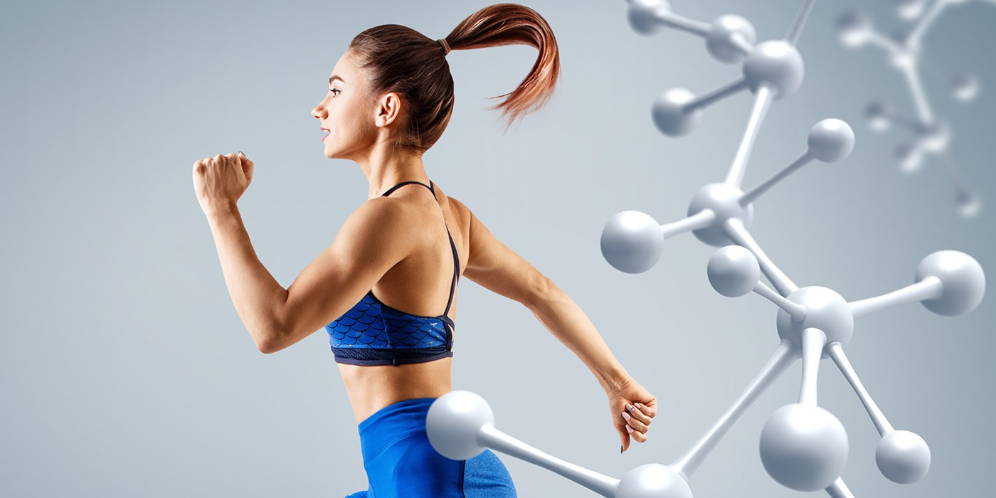 Stock image showing Sporty young woman running and jumping near molecules structure.