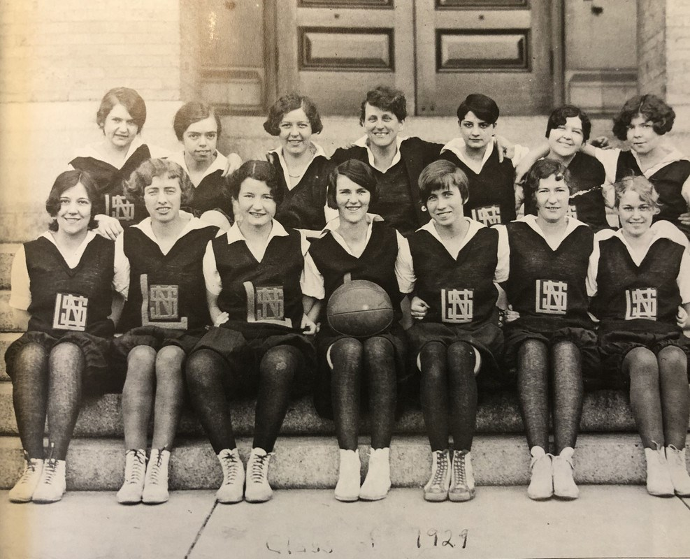 1929 women's basketball team in uniform from the Lowell Normal School