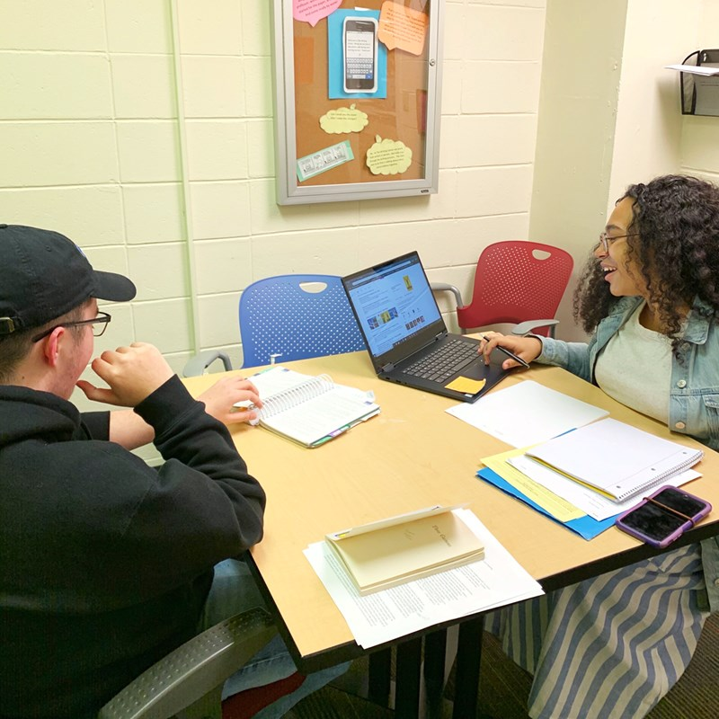 Students work together at The Writing Center