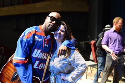 Music alumna Rachel Driscoll '17, right, works at Heat Music in New York City as Wyclef Jean's tour manager.